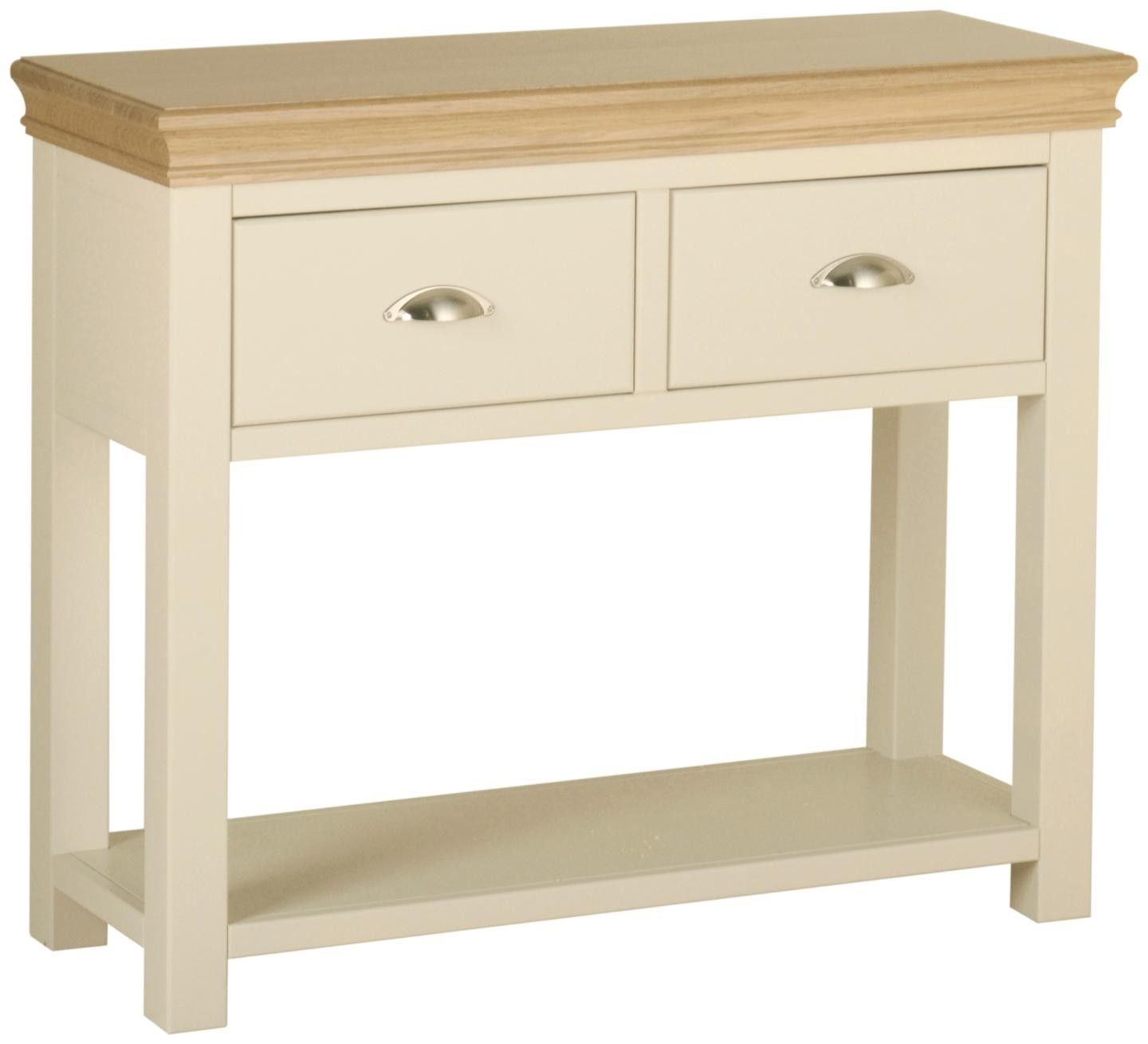 Emily 2 drawer console table painted ivory with oak tops emily 2 drawer console table painted ivory with oak tops geotapseo Choice Image