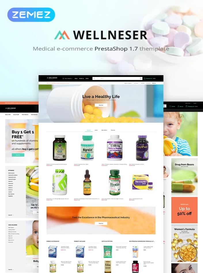 Wellneser - Medical Store Bootstrap Ecommerce Clean PrestaShop Theme #82980