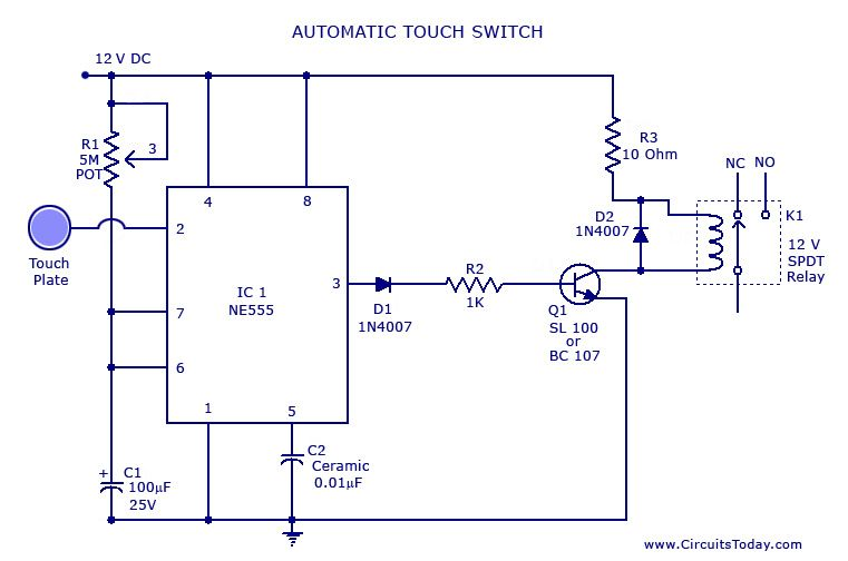Pin On Inter Touche Sensitive Ne 555 12v Relais