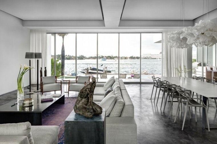 Séjour contemporain  75 exemples de décoration Salons, Living