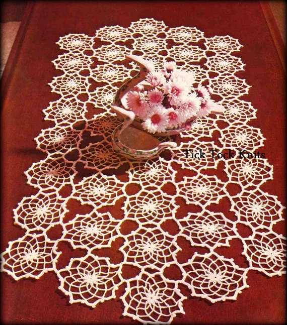 No487 Crochet Pattern Pdf Vintage Fractals Table Runner Thread