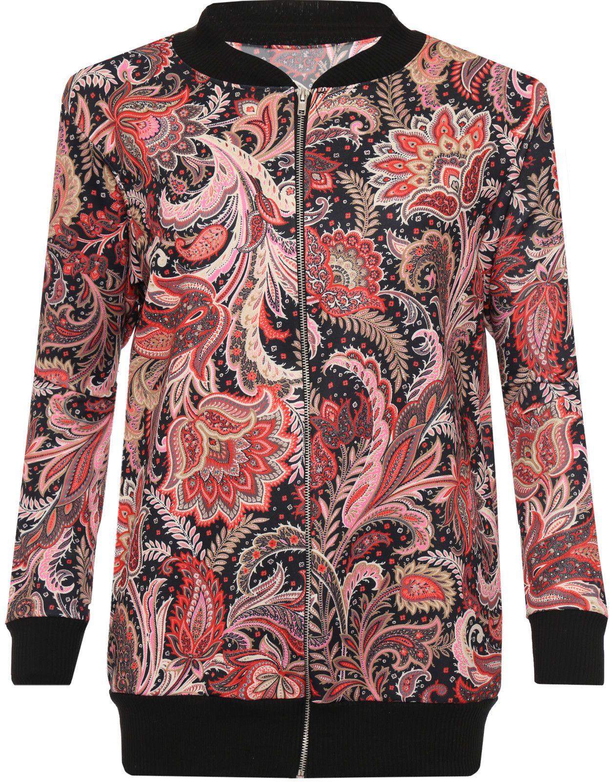 Womens Plus Floral Paisley Print Bomber Jacket Long Sleeve Zip Coat Top 14 28 Flower Print Bomber Jacket Floral Print Jacket Paisley Fashion [ 1600 x 1255 Pixel ]