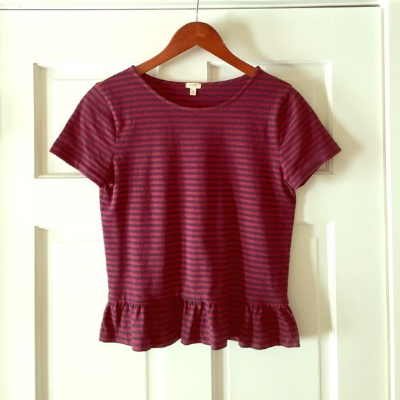 Striped peplum t shirt Burgundy and navy striped t shirt with a cute peplum ruffle. J. Crew Tops Tees - Short Sleeve
