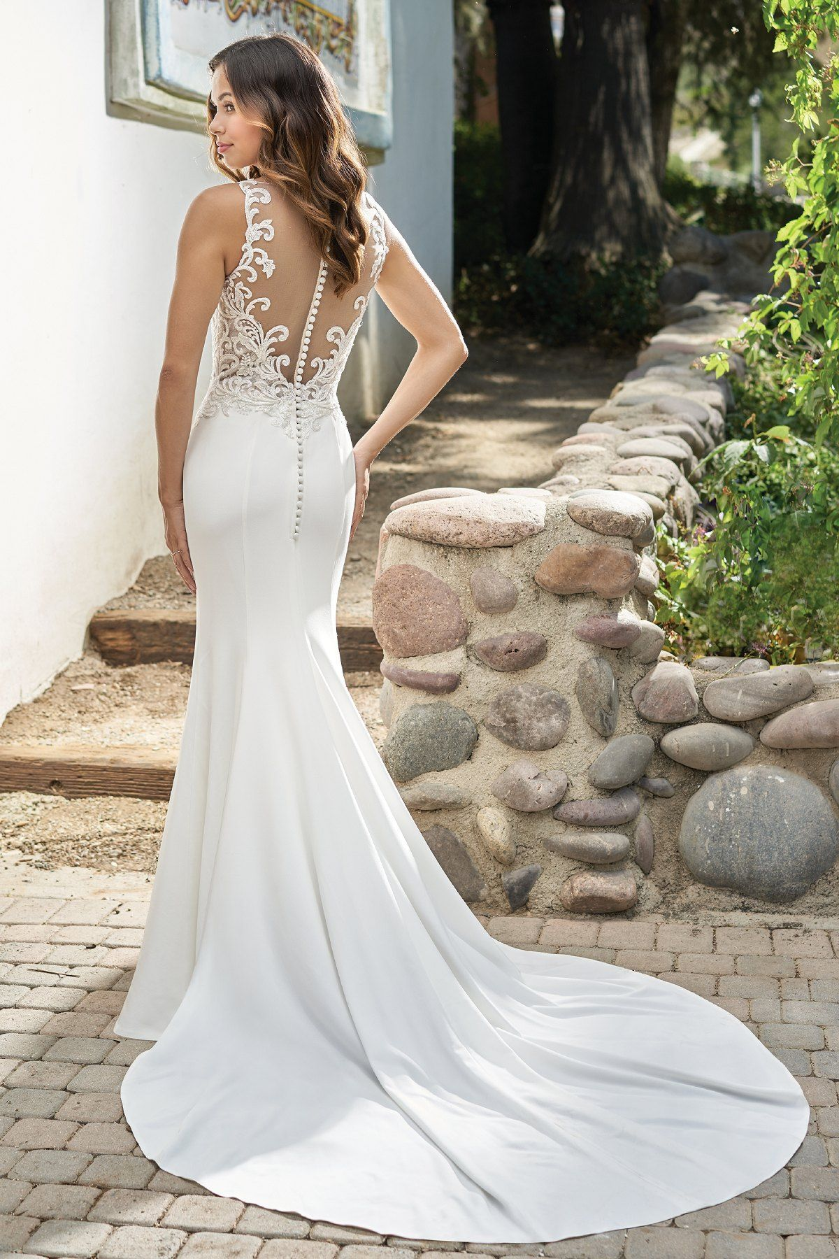 T212002 Simple Embroidered Lace & Stretch Crepe Wedding