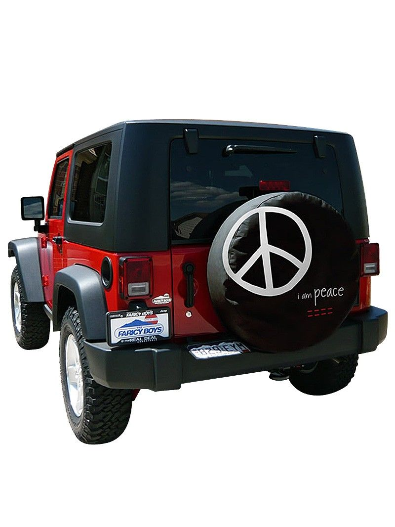 Let others know you feel at peace on the road with our i am peace black tire cover with our signature logo and i am peace message
