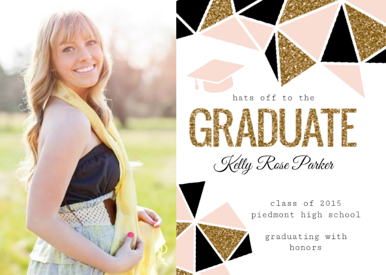 easily customize this standout geometric glitter graduation announcement design using the online editor all of our graduation announcement cards design - Graduation Invitations Pinterest