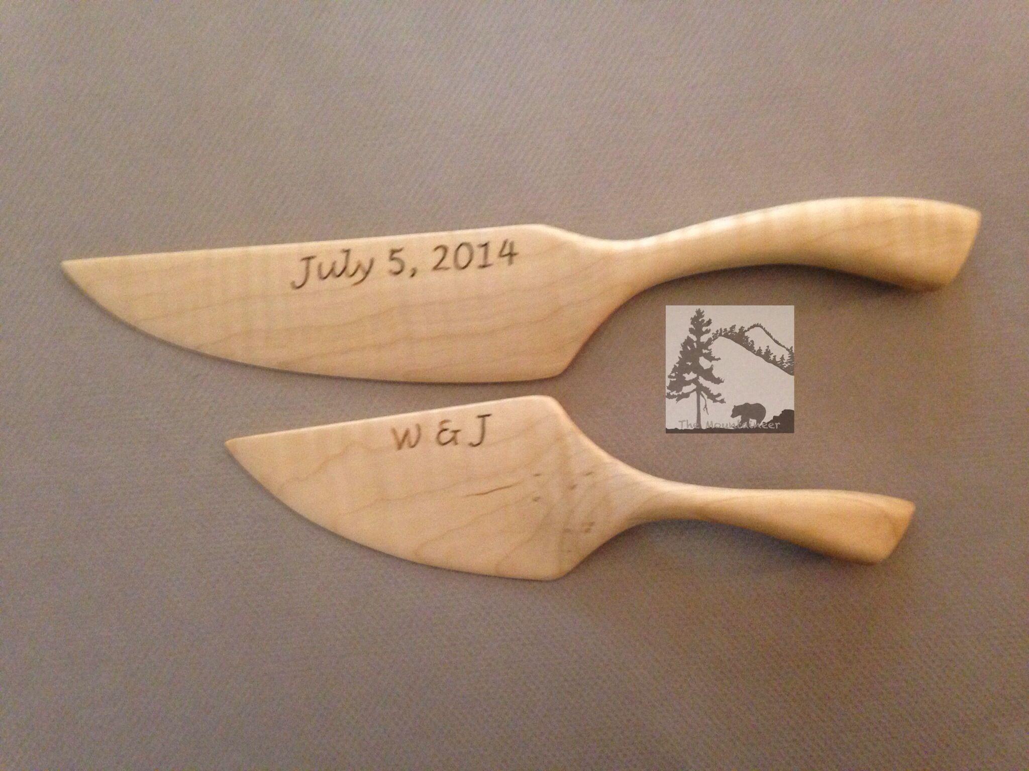 Maple Set Custom Hand Engraved Wedding Cake Knife And Server Pint