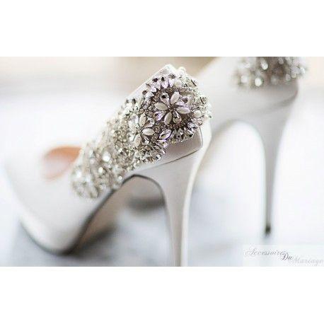 Chaussures de Mariée en satin & Dentelle ivoire chic Talons moyen -  Accessoires Mariage Cérémonie