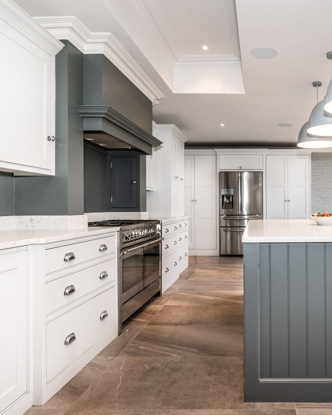 Handmade Kitchen Company On Instagram Grey Kitchens Are On Trend Right Now Check Out This Light And Dark Gr Grey Kitchens Handmade Kitchens Two Tone Kitchen