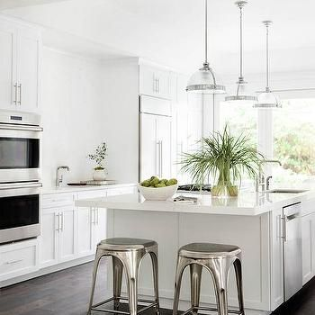White Kitchen With Dark Wood Floors And Industrial Counter Stools New Counter Stools For Kitchen Inspiration