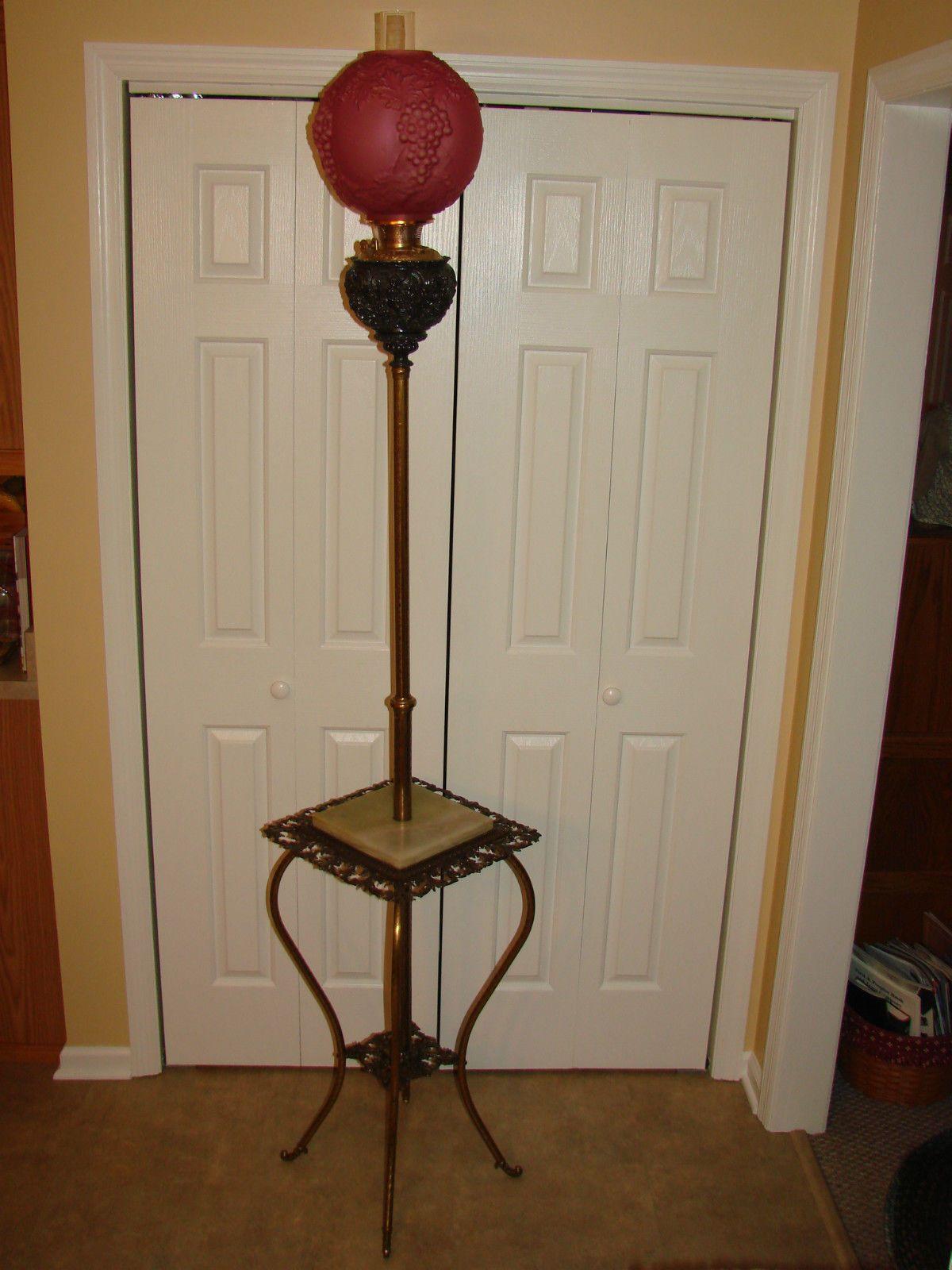 Dale tiffany floor lamps foter - Antique Bradley Hubbard 1890 S B H Oil Lamp Victorian Cherubs Piano Floor Ruby