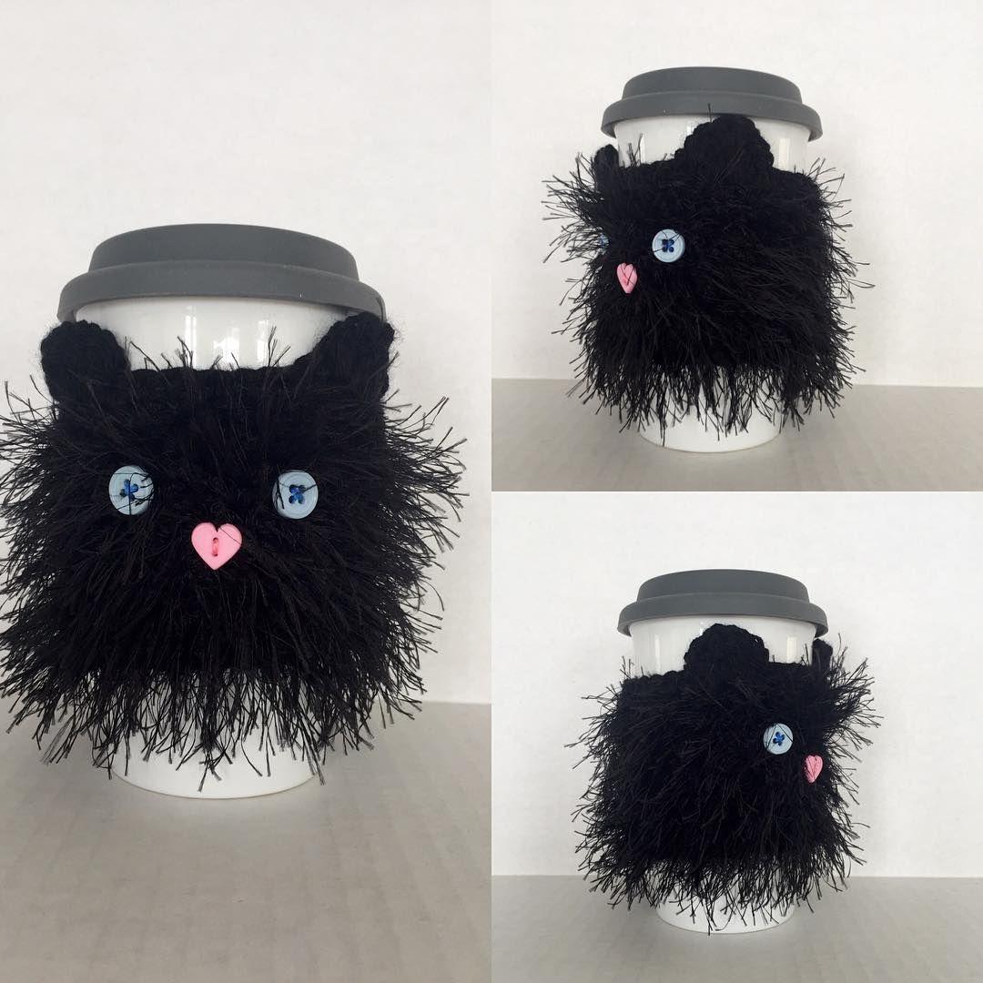 Black Cat Mug Cozy. #hookedbyangel #blackcatlove #catcozy #catkoozie ...