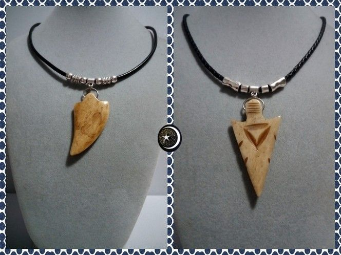 Colgantes en forma de puntas de Colmillo y flecha en Resina y cordón de cuero negro con entrepiezas en zinc