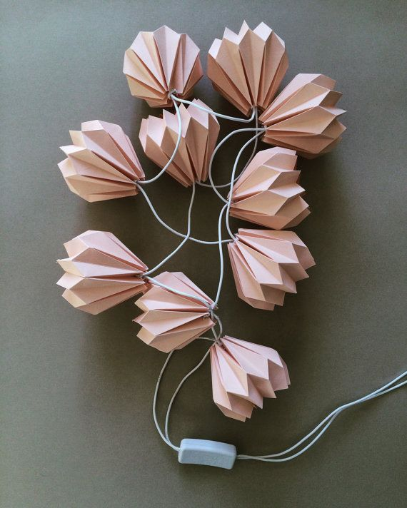 Fancy Rosa Origami Lichterkette Papier Lichtdekoration f r Kinderzimmer Pinke Leuchten als Wanddeko Blumen Girlande