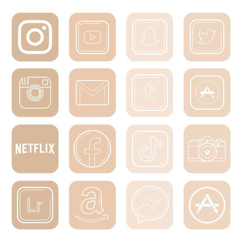 200+  beige app icons for IOS 14 Update. minimalis