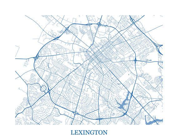 Map for Guestbook Print Lexington Kentucky Abstract Street Map