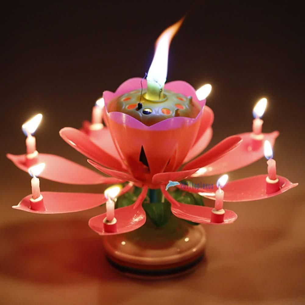 Musical Lotus Flower Rotating Happy Birthday Party Gift Decor Candle