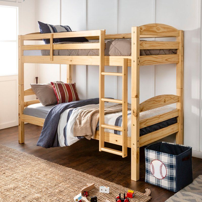 Contemporary Natural Twin Over Twin Bunk Bed Carolina Twin