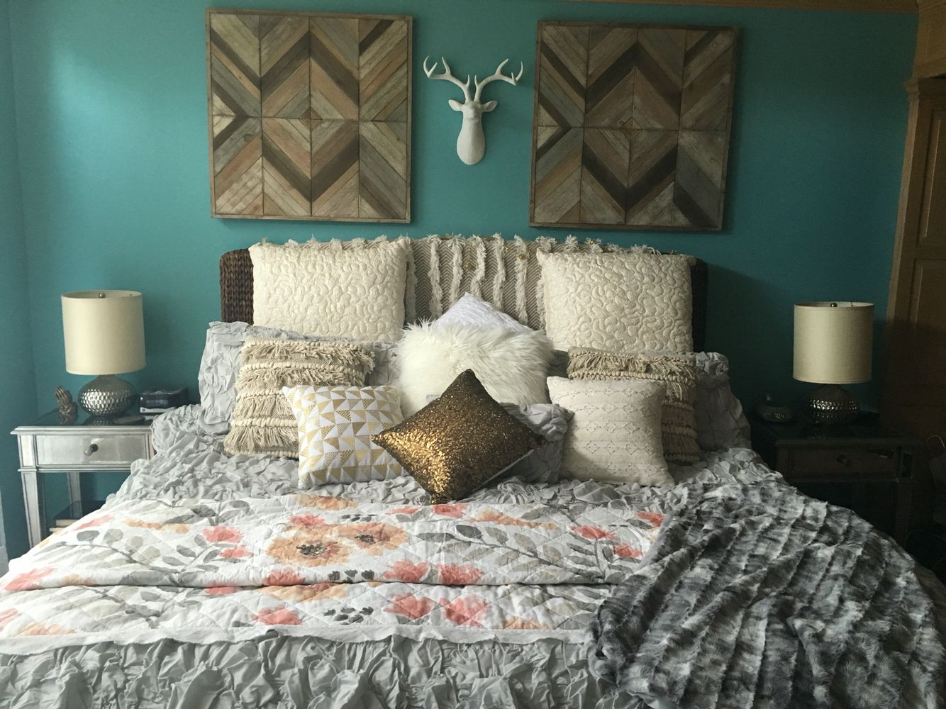Boho rustic glam bedroom