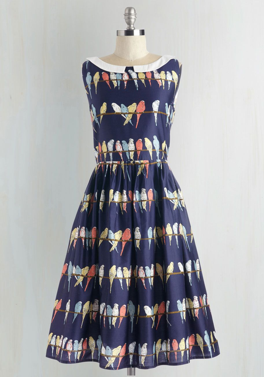 6847f5d23 Two Tickets to Parakeet Dress. Sweep yourself away to a world of charm by  slipping into this navy-blue frock. #multi #modcloth