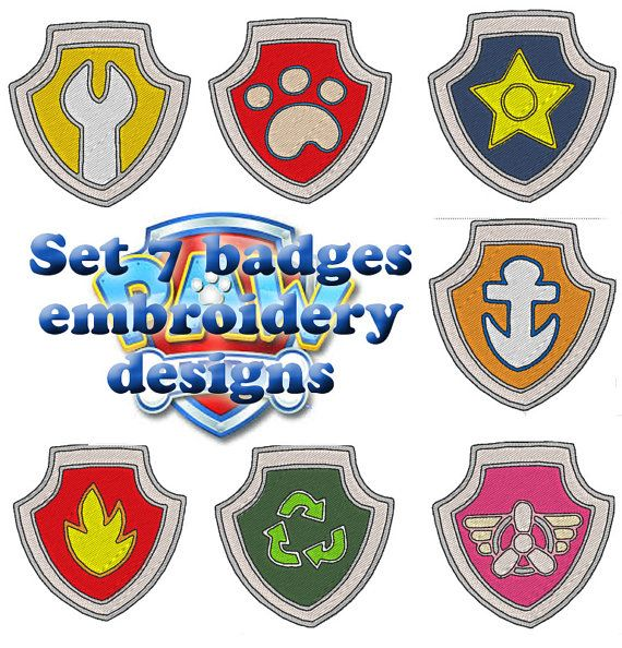 Set 7 badges for price of 5 ! Paw Patrol embroidery ...