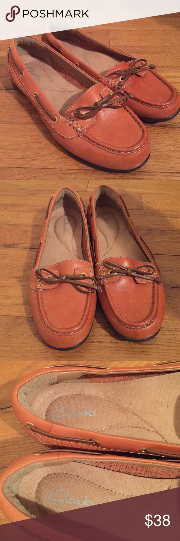 ✨SALE✨ • CLARKS • NWOT • loafers Clarks NWOT orange/tan loafers. Size 5. Comfortable & cute. Clarks Shoes Flats & Loafers