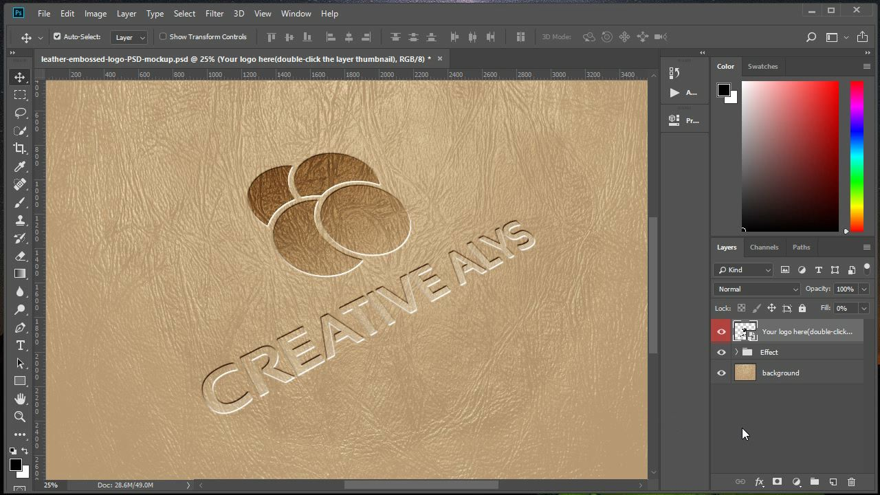 Photoshop Make Leather Embossed Logo Using Psd Mockup Embossed Logo Mockup Psd Photoshop Logo Tutorial Embossed Logo Mockup Psd
