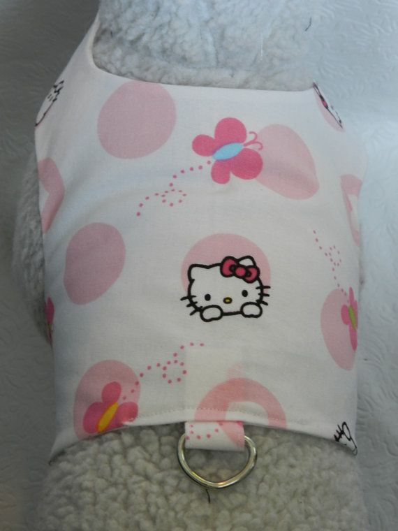 Peek A Boo KITTY..Adorable Pink/White Butterfly Daisy Polka Dot Design Pet Travel Harness. Custom made for your Cat, Dog or Ferret.