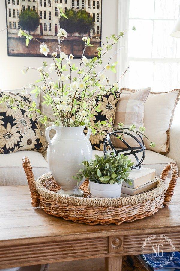 CREATE A SPRING INSPIRED SOFA  StoneGable is part of Decorating coffee tables - CREATE A SPRING INSPIRED SOFA Part of creating a beautiful home is giving a nod to the season! Sofas can help you breathe spring air into a room!