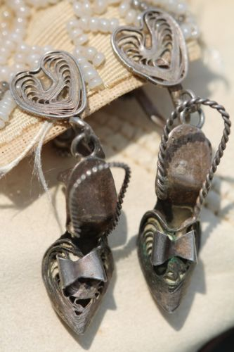 Rare Vintage Mexican Sterling Silver Filigree Heart & High Heeled Shoe Earrings