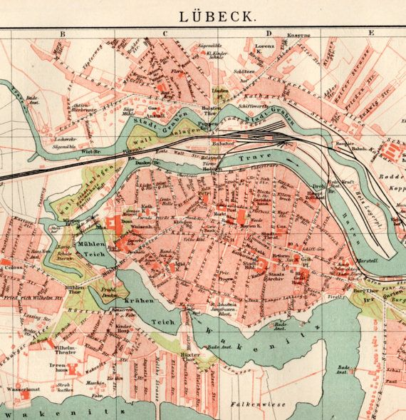 1898 Lbeck Germany Antique Map Old Print Vintage Lithograph