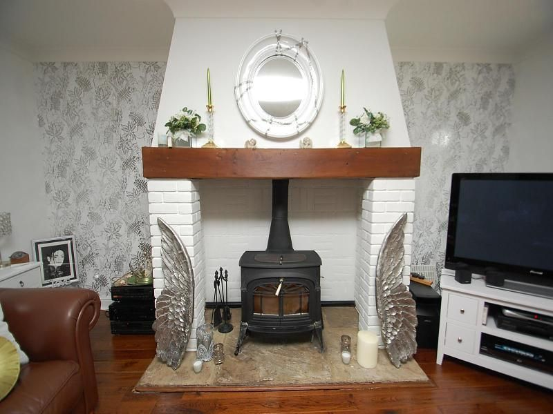Wallpaper In The Alcoves Wood Burning Fireplaces Pinterest