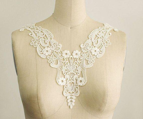 Ivory venice lace applique collar bridal applique venetian