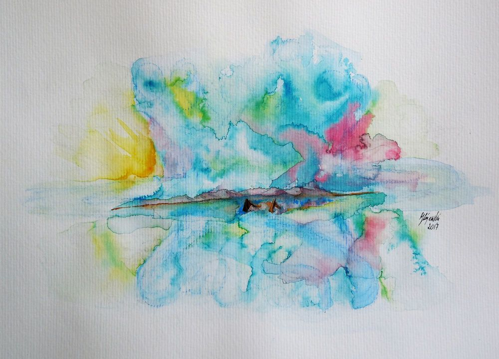 Aquarell Landschaft Meer Boote Kunstler Direkt Blau Braun Mit