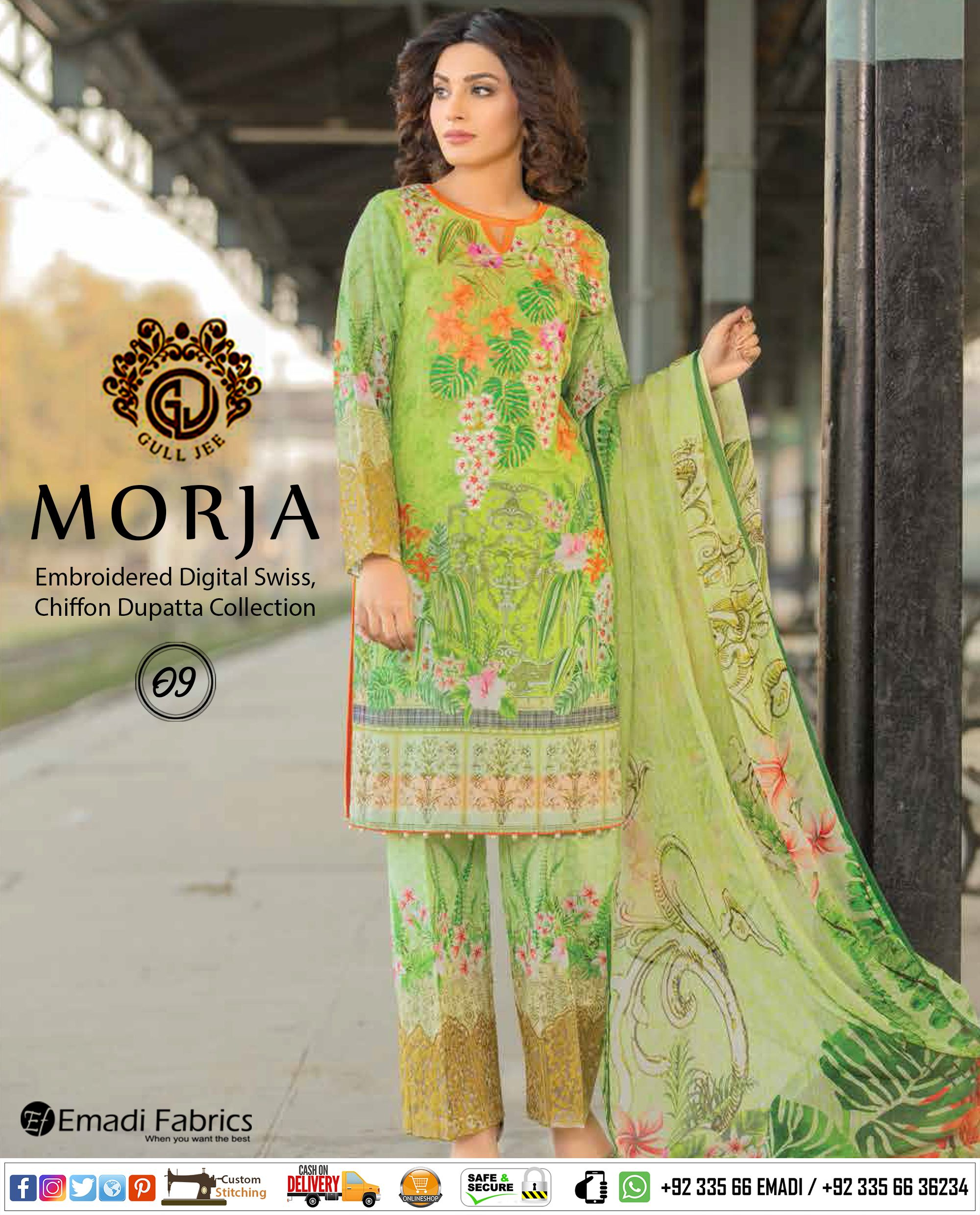 f152685f67 #GULJEE - MORJA EMBROIDERED DIGITAL SWISS, CHIFFON DUPATTA COLLECTION.  AVAILABLE AT EMADI FABRICS