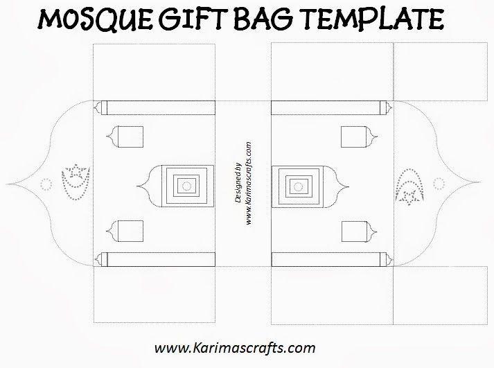 Karima S Crafts Mosque Gift Bag Template 30 Days Of Ramadan Crafts Gift Bag Templates Ramadan Crafts Ramadan Kids