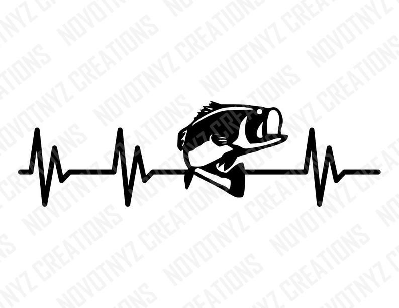 Download Bass Heartbeat SVG, Fishing, Love for Fishing | In a ...