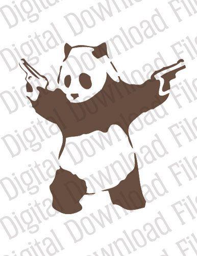Vector Graphic - DD00006 Banksy Panda - INSTANT DOWNLOAD file in Ai ...