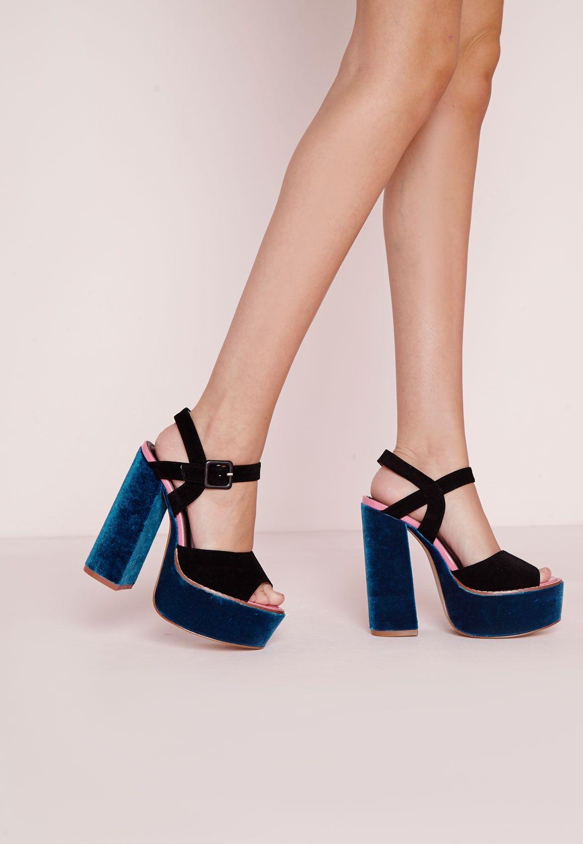 Missguided Sandales bleu sarcelle à talon carré et