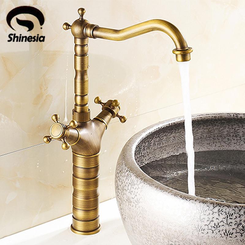Taller Antique Brass Bathroom Centerest Sink Faucet Dual Handle ...