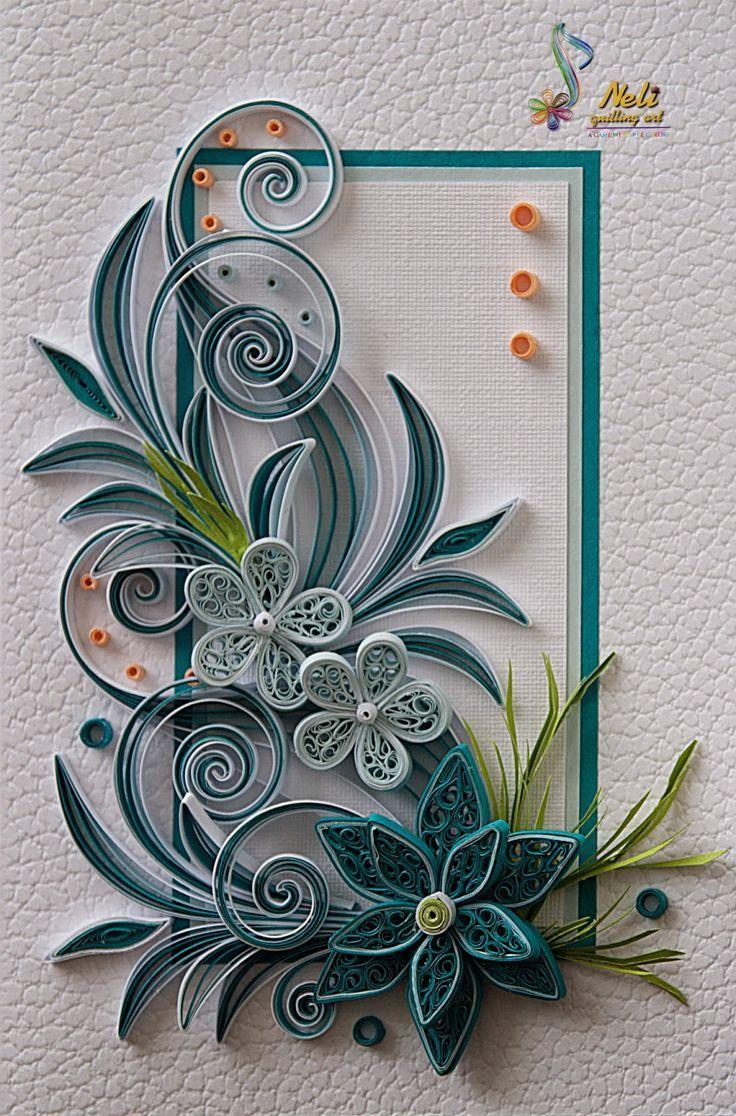 Открытка, цветы для открытки квиллинг
