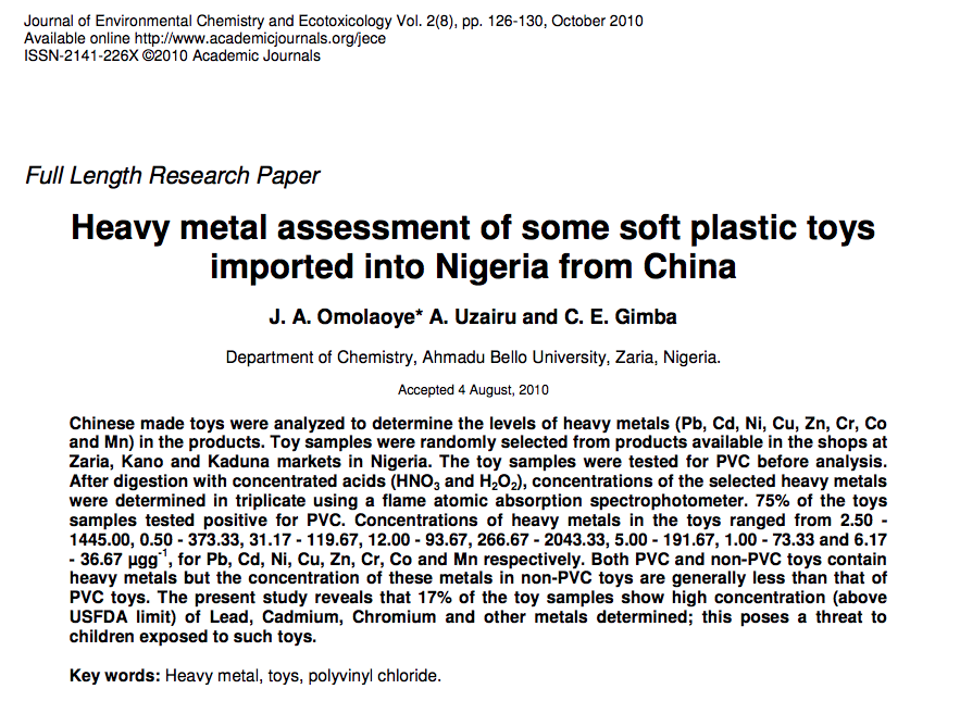 Omolaoye J A Uzairu J O A And Gimba C E 2010 Heavy Metal Assessment Of Some So Environmental Chemistry Chemistry United Nations Environment Programme