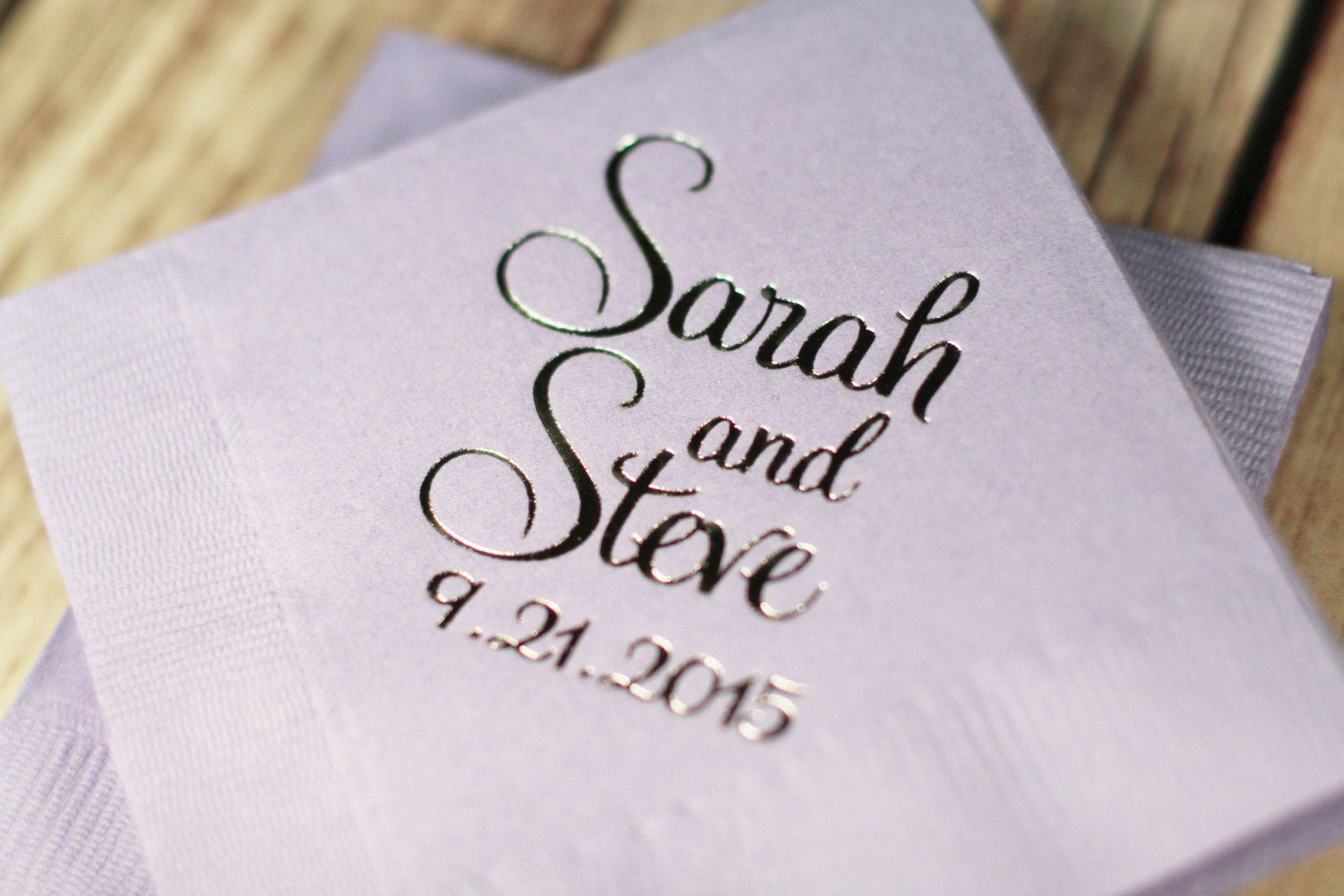 wedding napkins beverage napkins foil personalized napkins