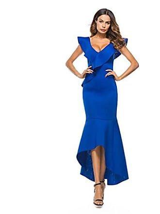 lhwy kleider damen elegant frauen langes abendkleid kleid Ärmellos rüschen unregelmäßiges