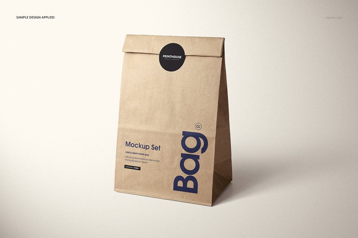 Download Lunch Kraft Paper Bag Mockup Set Paper Bag Design Paper Bag Bag Mockup