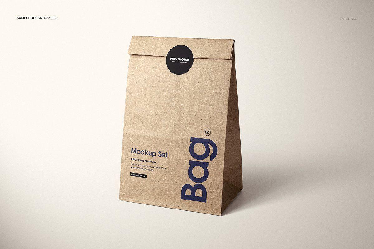 Download Lunch Kraft Paper Bag Mockup Set Bag Mockup Soap Packaging Design Paper Bag Design