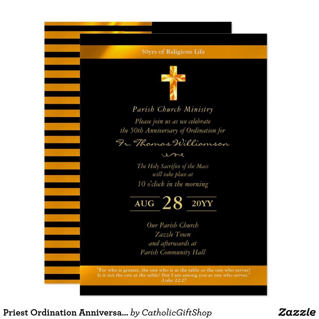 Priest Ordination Anniversary Invites 50th Gold Catholic Store