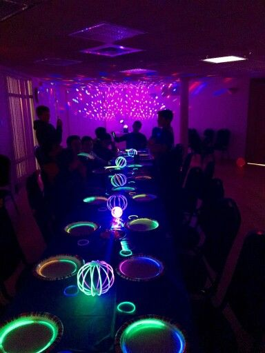 Our Successful 13th Birthday Glow In The Dark Party Lots Of Preparation But The Kids Loved It Glow Stick Party Glow Party Glow In Dark Party
