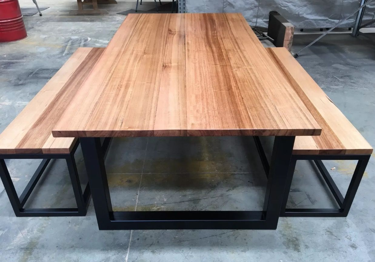 Recycled Tasmanian oak industrial dining table with bench seats made ...