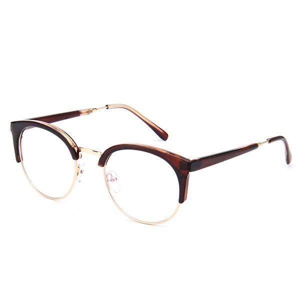 Retro Round Transparent Glasses Frame For Women Cat Eye Eyeglasses Frame Nerd Clear Eyeglass Spectacle Optical Eyewear